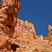 Utah Seventh Graders Climbing Switchbacks On Wall Street, Navajo Trail In Bryce National Park, Utah Art Print