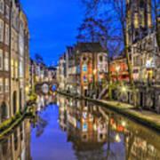Utrecht From The Bridge By Night Art Print