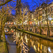 Utrecht Old Canal By Night Art Print