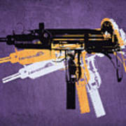 Uzi Sub Machine Gun On Purple Art Print