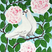 Valentine Doves Art Print