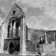 Valle Crucis Abbey Monochrome Art Print