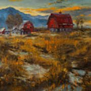 Valley Farm Sunset Art Print