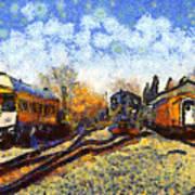 Van Gogh.s Train Station 7d11513 Art Print