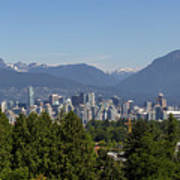 Vancouver Bc City Skyline And Mountains View Art Print
