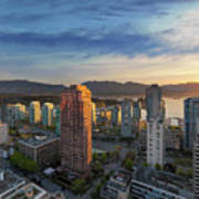 Vancouver Bc Cityscape At Sunset Art Print