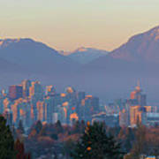 Vancouver Bc Downtown Cityscape At Sunset Panorama Art Print