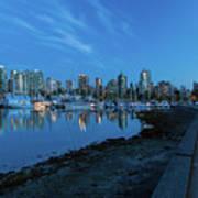 Vancouver Bc Skyline Along Stanley Park Seawall Art Print