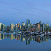 Vancouver Bc Skyline During Blue Hour Panorama Art Print