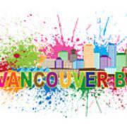 Vancouver Bc Skyline Paint Splatter Text Illustration Art Print