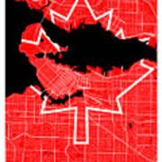 Vancouver Street Map - Vancouver Canada Road Map Art On Canada Flag Symbols Art Print