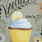 Vanilla Lemon Cupcake Art Print by Catherine Holman