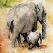 Vanishing Thunder Series - Mama And Baby Elephant Art Print