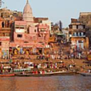 Varanasi From Ganges River Art Print