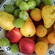 Variety Of Fresh Summer Fruit On A Plate Art Print by Sami Sarkis