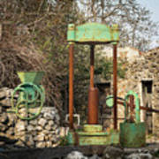 Various Old Rusty Vintage Agricultural Devices In Croatia Art Print