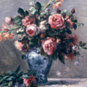 Vase Of Roses Art Print by Pierre Auguste Renoir
