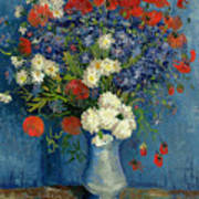 Vase With Cornflowers And Poppies Art Print