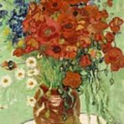 Vase With Daisies And Poppies Art Print