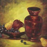 Vase With Fruit Bowl Art Print