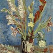 Vase With Gladioli And Chinese Asters Art Print