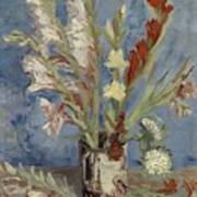 Vase With Gladioli And Chinese Asters Paris, August - September 1886 Vincent Van Gogh 1853  1890 Art Print