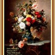 Vase With Roses And Other Flowers L A With Alt. Decorative Ornate Printed Frame. Art Print
