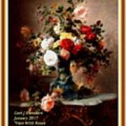 Vase With Roses And Other Flowers L A With Decorative Ornate Printed Frame. Art Print