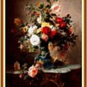 Vase With Roses And Other Flowers L B With Alt. Decorative Ornate Printed Frame. Art Print