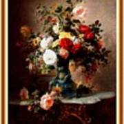 Vase With Roses And Other Flowers L B With Decorative Ornate Printed Frame. Art Print
