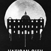 Vatican City Landmark Black Art Print