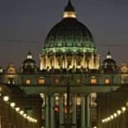 Vatican, Rome, Italy.  Night View Art Print