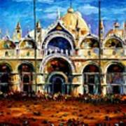 Venice - Pigeons On San Marco Square Art Print