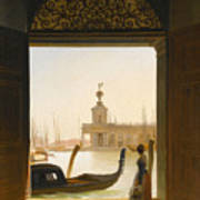 Venice A View Of The Dogana Seen Through A Large Doorway Art Print