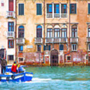 Venice Boat Under The Rain Art Print