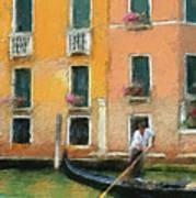 Venice Canal Boat Art Print