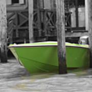 Venice Canals Green Boat Art Print