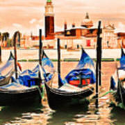 Venice, City Of Romance, Italy, Gondolas Art Print
