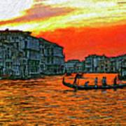 Venice Eventide Impasto Art Print