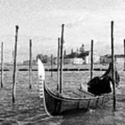 Venice. Gondola. Black And White. Art Print