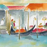 Venice Gondolas Art Print by Pat Katz