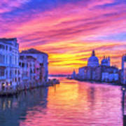 Venice Grand Canal At Sunset Art Print