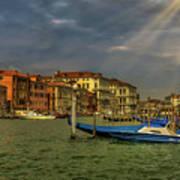 Venice Grand Canal God Sun Rays Art Print
