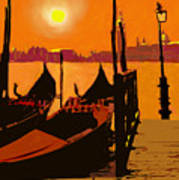 Venice In Orange Art Print