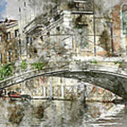 Venice Italy Digital Watercolor On Photograph Art Print