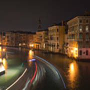 Venice Night Traffic Art Print by Andrew Lalchan
