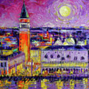 Venice Night View Modern Textural Impressionist Stylized Cityscape Art Print