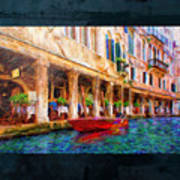 Venice Red Boat And Outdoor Cafe Art Print