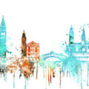 Venice Watercolor Skyline Art Print