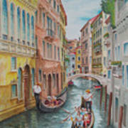 Venice Waterway  Italy Art Print by Charles Hetenyi